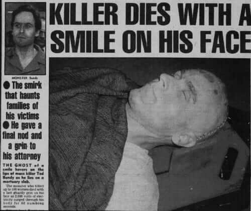 Artykuł w gazecie po egzekucji Ted'a